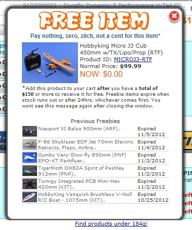 hobbyking freebie message